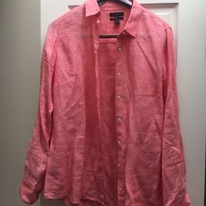 CORAL WOMENS BUTTON-DOWN TOP